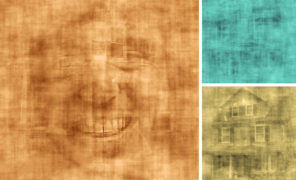 Screen shots from a video of overlapping images of faces and houses, shown to subjects who were asked to pay attention to one or the other.Images: Daniel Baldauf, screen shots colorized by MIT News