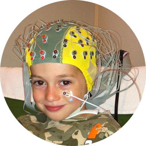 child in EEG cap