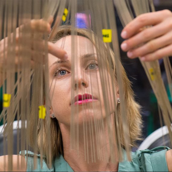 Polina Anikeeva looking at optoelectronic probes