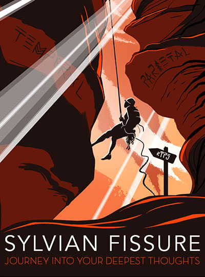 Illustration of person rappelling into the brain's sylvian fissure.