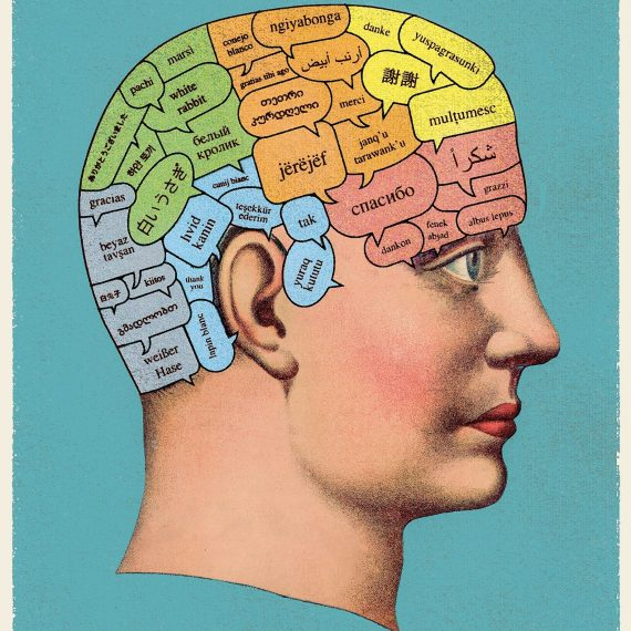 Federenko studies the language brain, as seen in this illustration from the New Yorker