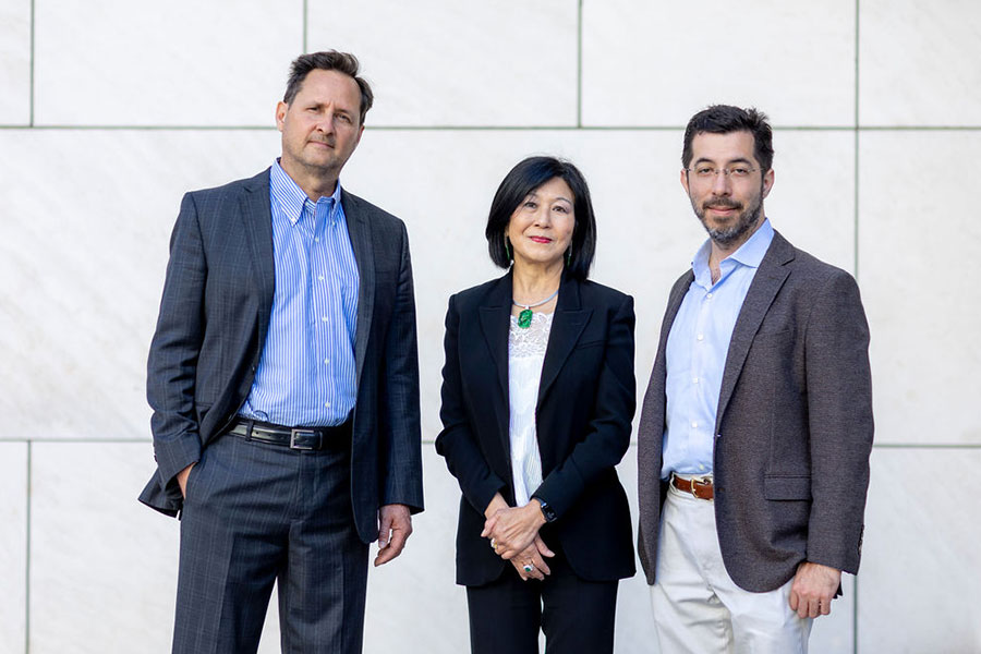 Portrait of Hugh Herr, Lisa Yang, and Ed Boyden (from left to right).